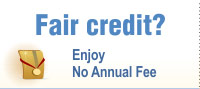 No Annual fee cards for fair credit